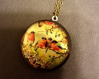 Bird Locket Necklace - Birds On A Twig - Custom Length Chain
