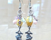 Silver Easter Bunny & Colorful Bead/Crystals/Pearls Dangle Earrings, Handmade Original Fashion Jewelry, Unique  Bold Simple Ladies Gift Idea