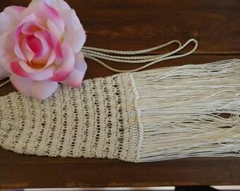 Vintage Ivory Hand-Crochet Bag with Dramatic Fringe