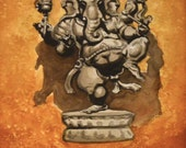 Ganesh, The Patron of Art and Science, Original Watercolor Painting by Casey Perez, Fine Art with Matte and Frame