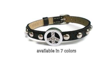 Leather PEACE Bracelet  -  Black PEACE Bracelet - Studded Leather PEACE Bracelet Wristband