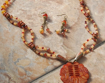 So Stunning! Amber Jade Carved Pendant with Czech Glass, Carnelian Beads Necklace and Earrings