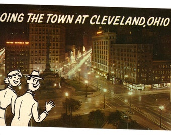 Cleveland Public Square Vintage Postcard with Cartoon Couple