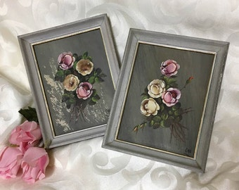 Shabby Chic  Roses Hand Painted Framed Art ~ 1950's Pink Roses