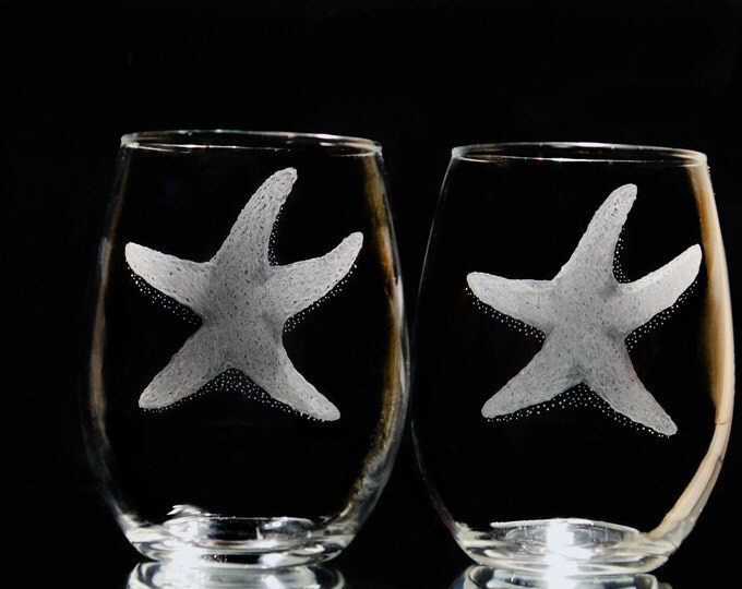 4 stemless starfish wine glasses  beach wine glass set  hand engraved glass star fish