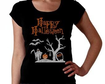 Halloween Graveyard RHINESTONE t-shirt tank top sweatshirt S M L XL 2XL - Bats Pumpkin Grim Reaper Rip