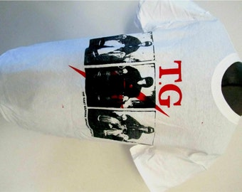 """Punk T-shirt-Throbbing Gristle- Gary Gilmore- Electric Chair print -Inside out Tee - Psychic TV- Sm 36""""- Med 38""""-"""