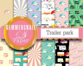 Summer digital paper 'Trailer park' caravans vacation 12 camping backgrounds