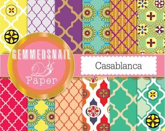 Moroccan digital paper 'Casablanca' quatrefoil or lattice tiles morocco boho style 12 papers