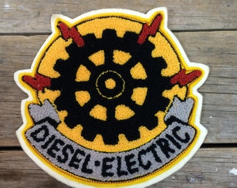 Large sew on patch, Diesel Electric, badge, appliqué, sewing, campfire blanket