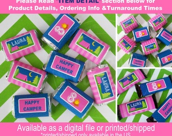 Glam Camping Candy Bar Wrappers - Camping Chocolate Bar Wraps - Girl Camping Chocolate Bar Wrappers - Digital and Printed