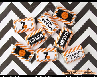 Basketball Chocolate Bar Wrappers -  Basketball Candy Bar Wrappers -  Basketball Party Favors - Basketball Candy Labels - DIgital & Printed