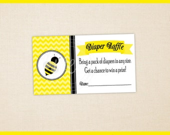 Bumble Bee Diaper Raffle Tickets - Printable Diaper Raffle Tickets - Baby Shower Games -  Bee Baby Shower - Instant Download