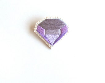 Embroidered brooch geometric faux gem in pretty purples and lavenders on bright cream muslin with silver plated pin back Mother's Day gift