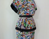 80's Does 40's Dress Peplum Novelty Print Rayon Belted Colorful Black Tropical S M
