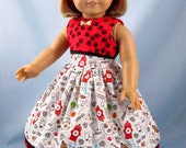 Doll Clothes fit American Girl - Doll Clothes 18 Inch - Puppy Dress and Headband - Whimsical Puppies - Paw Prints Doll Dress