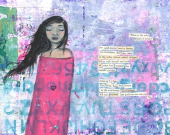 "9"" x 12"" Poem Wall Decor - ""The Wild Home"" - Fine Art Giclee Print - Purple Pink Blue, Black Hair Traveling Woman, Found Poetry, Going Home"