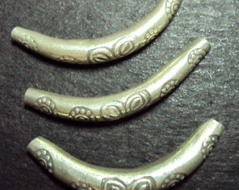 Silver Hill Tribe Bead Curved Tube Floral Pattern