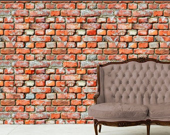 Removable Wallpaper- Rugged Brick- Peel & Stick Self Adhesive Fabric Temporary Wallpaper-Repositionable-Reusable- FAST. EASY.