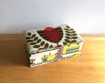 Retro vintage craft sewing box, button box or bijoux box with folky fabric lid cover
