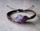 Amethyst bracelet, raw crystal bracelet, purple quartz bracelet, new age jewelry, healing crystal jewelry, healing bracelet