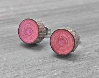 Pink Wood Slice Stud Earrings - Bark Earrings - Hardwood Faux Plug Fake Gauge Post Earrings with Surgical Steel posts