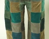 Size 32 x 32 Unisex Corduroy Patchwork Corduroy Pants Tapered
