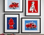 Fire Truck art, fire truck decor, Vintage fire engine nursery, fire fighter art for boys art - set of 4 nursery art prints for boys