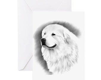 Great Pyrenees Portrait, charcoal drawing, Greeting Card