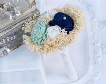 Navy and Mint Mini Bouquet // Toss Bouquet, Navy Blue, Mint Green, Wedding Flower Bouquet, Junior Bridesmaid Bouquet, Flower Girl Bouquet