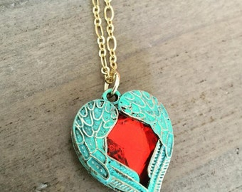 Heart Necklace verdigris patina heart and wings necklace red jewel