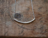 Dainty Silver Curved Tube Necklace / Minimalist Necklace / Tube Bar Necklace
