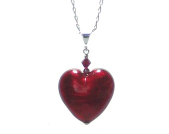 Murano Glass Red Heart Pendant, Venetian Glass Jewelry, Italian Jewellery, Pendant Necklace, Gifts For Her, Red Lampwork Heart Pendant