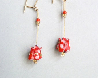 Red, white and gold Lotus flower Origami earrings