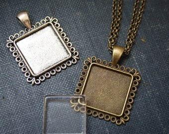 6 DIY jewelry making  KITS - Square pendants 20 mm, glass and necklaces Easy DIY Jewelry making, kids craft or party favor