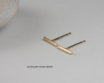 Yellow Gold Earrings Solid Gold Earrings Handmade Gold Line Earrings 14K Gold Earrings Gold Bar Studs