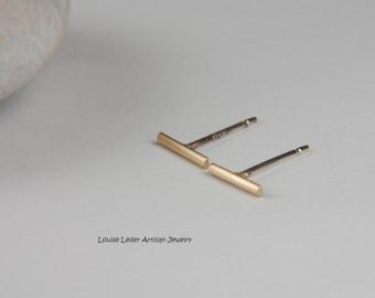 Gold Line Earrings Solid Gold Earrings Handmade Gold Minimal Earrings 14K Gold Earrings Simple Earrings Gold Bar Studs