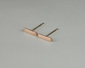 Rose Gold Earrings 7mm Minimalist Gold Earrings Solid Rose Gold Earrings Rose Gold Bar Earrings 14K Rose Gold Stud Earrings