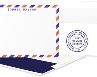 Airmail Stationery: Set of 25 Personalized Blank Cards. Air Mail Card. Custom Colors. Vintage Style Card set.  Red and Blue.