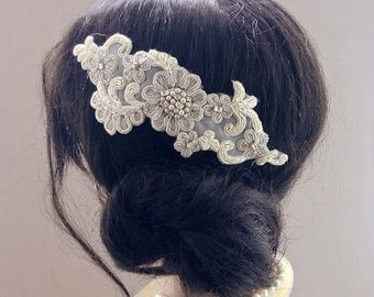 Bridal Lace Hairpiece, Bridal Hair Comb, Lace Wedding Hair Accessories, Wedding Hair Comb, Beaded Lace Comb, Wedding Headpiece, Cream Ivory