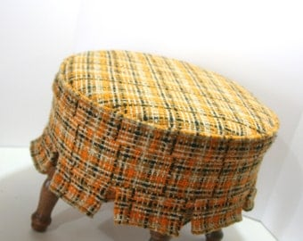 Vintage Jungalow Round Small Ottoman Foot Stool Pouff Woven Plaid Upholstery Mango Squash Tangerine Orange Black Weave w/ Ruffle Wood Legs