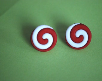 Swirly Earrings -- Red and White Swirl Studs, Peppermint Swirl Earrings, Swirl Studs
