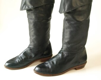 Vintage black leather women's tall riding pirate boots size 6
