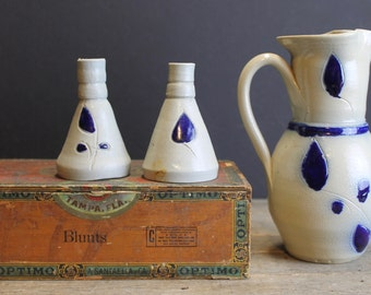 3 Vintage Williamsburg Pottery // Pitcher and 2 Small Vases