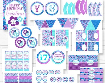 """Personalized Diy Printable """"Fresh Flowers"""" Purple and Blue Floral Birthday Digital Printable Party Package"""