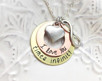 """Custom """"I Love You Times Infinity"""" Copper Brass Infinity Necklace- Hand Stamped Jewelry - Personalized Jewelry - Engraved Jewelry"""