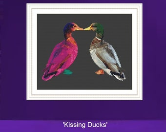 Duck Cross Stitch Kit,  'Kissing Ducks', Modern Cross Stitch, Counted Cross stitch