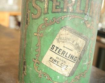 Vintage Tobacco Tin,Fabulous Early Old Large General Store Tobacco Tin Bin – Serling Advertising