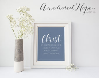 Christ is the center of our home - Modern Christian Art - Simple Home Decor - High Resolution JPG - PIY