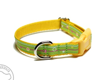 "Lemon Lime Stripes Dog Collar - 1/2"" (13mm) Wide - Thin Dog Collar - your choice of style and size - Spring Green - Bright Yellow"